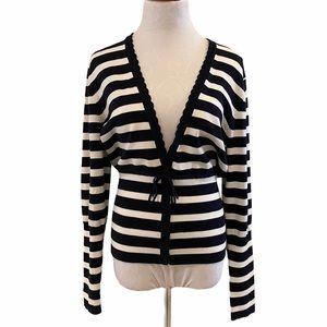 Willi Smith V-neck Navy & White Striped Cardigan